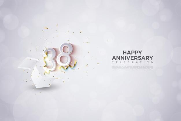 38e verjaardag met illustratie van uitspringende figuren