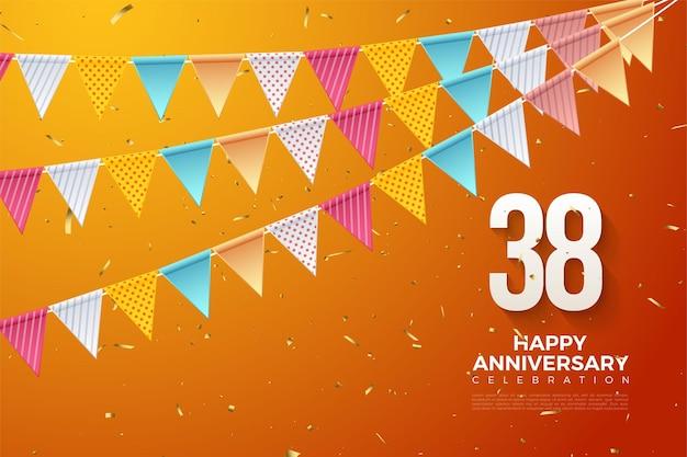 38e verjaardag met kleurrijke cijfers en vlaggen op oranje achtergrond