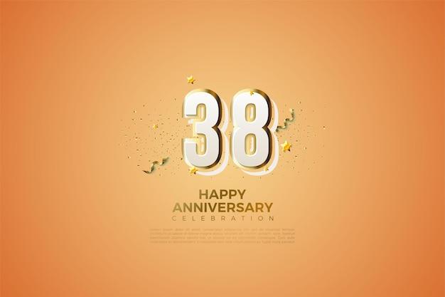 38e verjaardag met moderne illustraties voor nummerontwerp