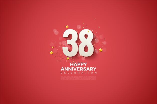 38e verjaardag met mooie figuurontwerpillustratie op rode achtergrond