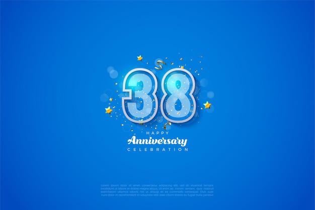 38e verjaardag met ontwerpillustratie met dubbele omtrekfiguur