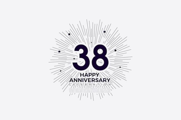38e verjaardag met plat ontwerpnummer en geïllustreerde achtergrond