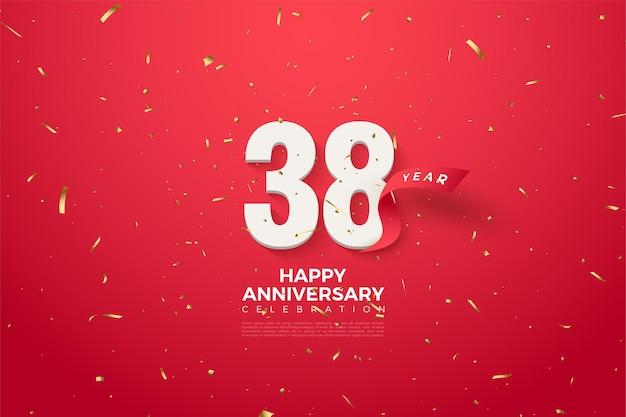 38e verjaardag met rood lint erachter