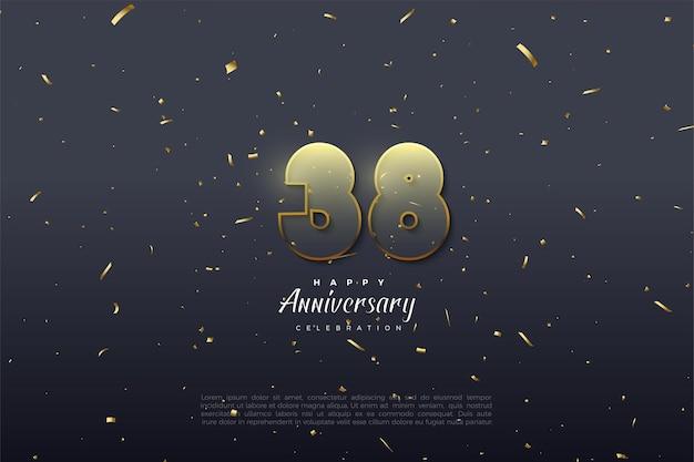 38e verjaardag met transparante figuurillustratie