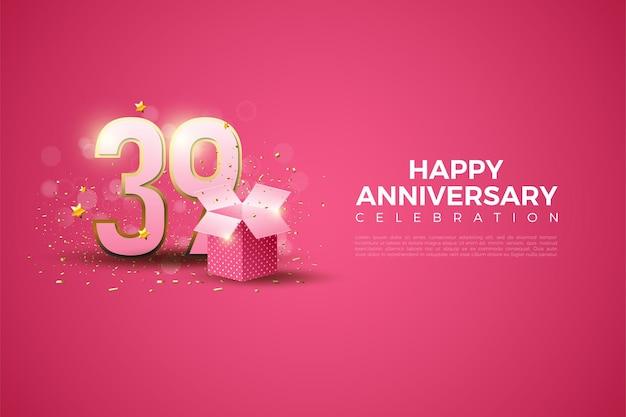 39e verjaardag met cijfers en illustratie van de geschenkdoos