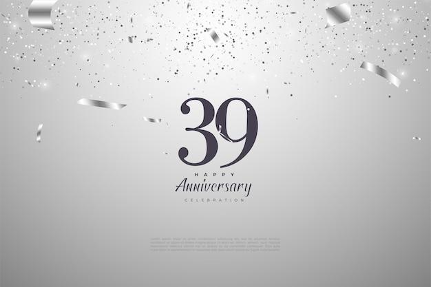 39e verjaardag met cijfers en zilveren achtergrond