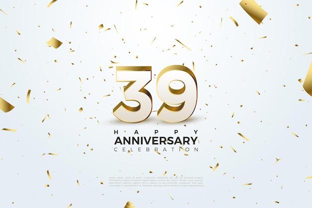 39e verjaardag met de distributie van goudpapier