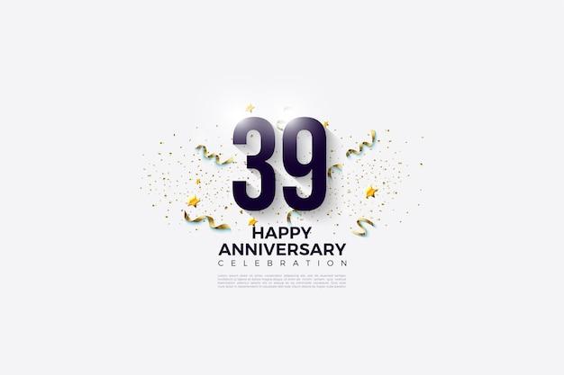 39e verjaardag met een heldere achtergrond