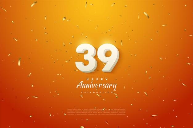 39e verjaardag met effen witte cijfers