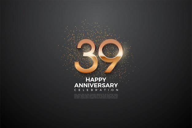 39e verjaardag met gloeiend nummer
