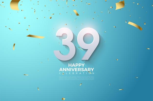 39e verjaardag met in reliëf gemaakte en gearceerde cijfers