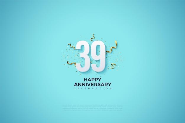 39e verjaardag met nummers en feestfestiviteiten