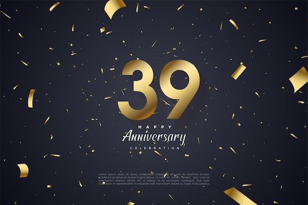 39e verjaardag met nummers en verspreiding van stukken goudfolie