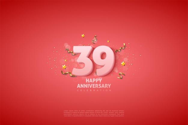 39e verjaardag met zachte witte cijfers