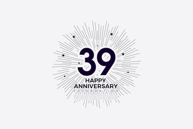 39e verjaardag met zwart op witte cijfers