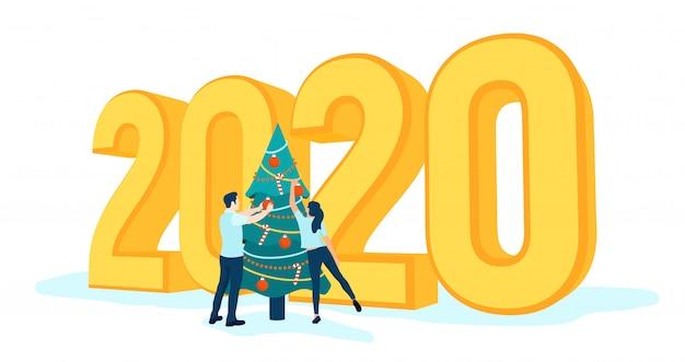 3d 2020 gouden nummers. gelukkig nieuwjaar 2020. mensen versieren kerstboom.