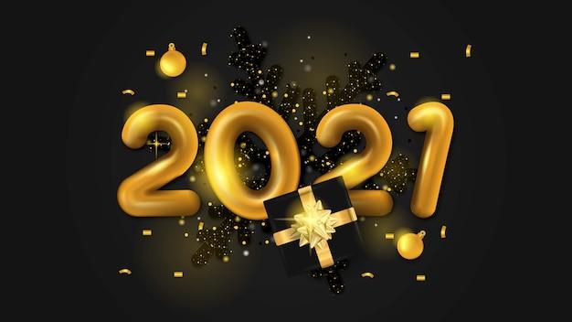 3d 2021 gelukkig nieuwjaar gouden glans op zwarte achtergrond