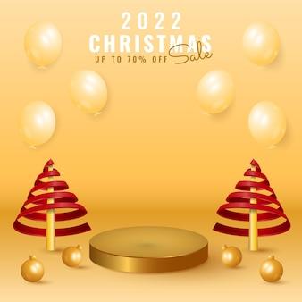 3d 2022 gelukkig nieuwjaar en vrolijke kerstverkoopbanner met podium, boom, bal en ballon