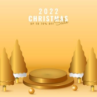 3d 2022 gelukkig nieuwjaar en vrolijke kerstverkoopbanner met podium, gouden boom en bal