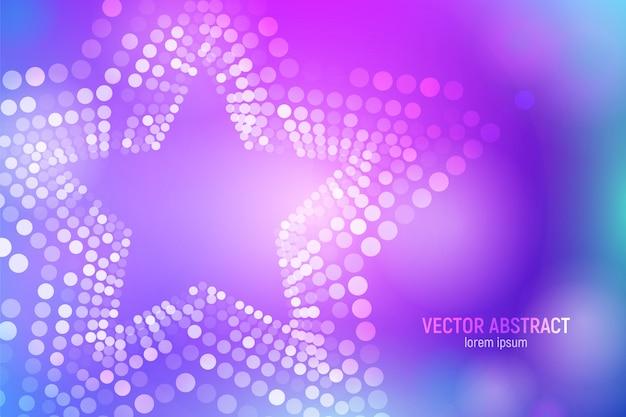 3d abstract paarse en blauwe ster achtergrond met cirkels, lens flares en gloeiende reflecties.