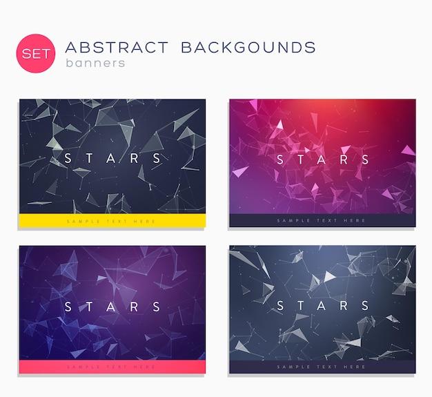 3d abstracte geplaatste bannerachtergronden