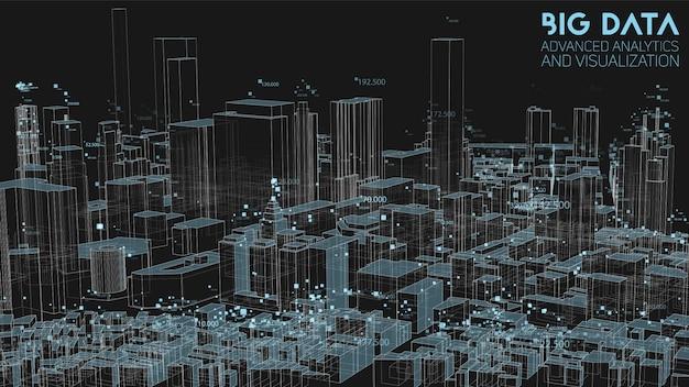 3d-abstracte stedelijke financiële structuuranalyse van big data