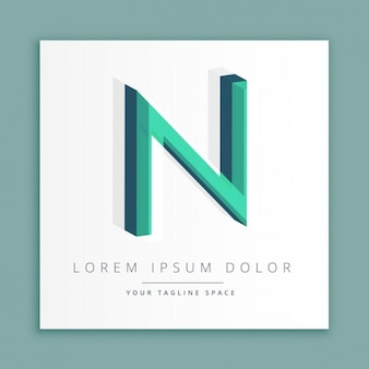 3d abstracte stijl logo met de letter n