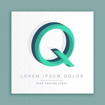 3d abstracte stijl logo met de letter q