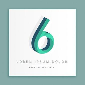 3d abstracte stijl logo met nummer 6