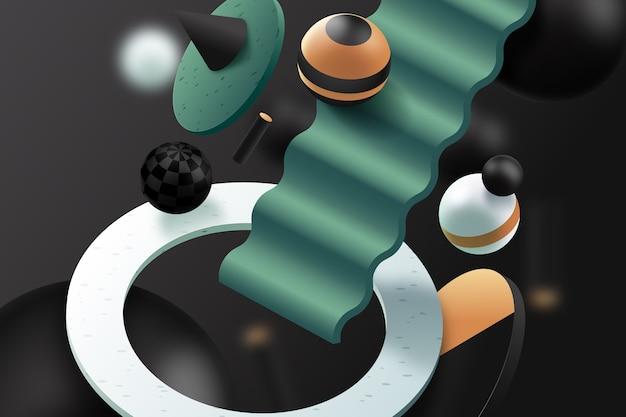 3d-achtergrond met bollen en trappen