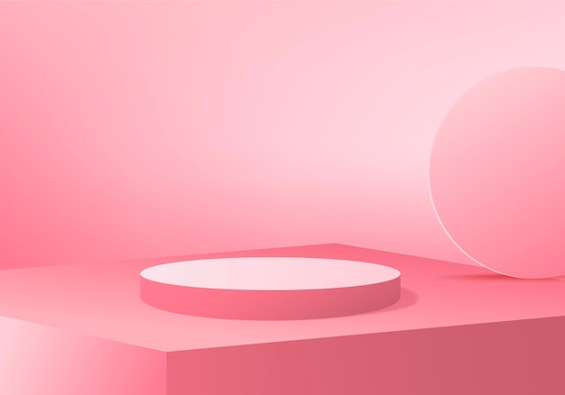 3d-achtergrondproducten tonen podiumscène met geometrisch platform. achtergrond 3d-rendering met podium. stand om cosmetische producten te tonen. toneelvitrine op voetstuk roze studio