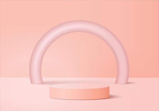 3d-achtergrondproducten tonen podiumscène met geometrisch platform. achtergrond vector 3d-rendering met podium. stand om cosmetische producten te tonen. toneelvitrine op voetstuk roze studio