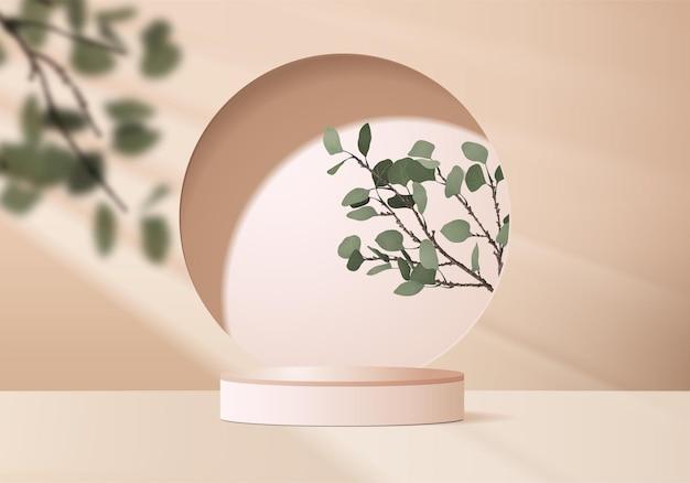3d achtergrondproducten tonen podiumscène met geometrisch platform van palmblad.