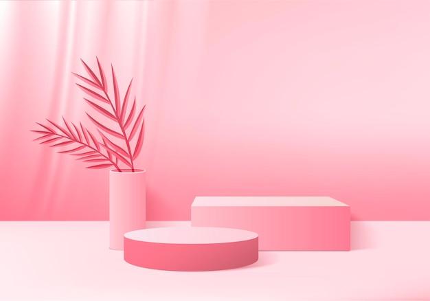 3d-achtergrondproducten tonen podiumscène met groen blad geometrisch platform. achtergrond 3d render met podium. stand om cosmetische producten te tonen. toneelvitrine op voetstuk roze studio