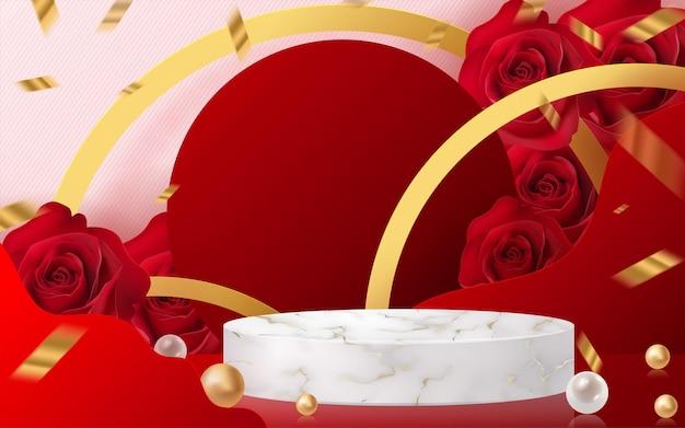 3d-achtergrondproducten voor valentijnsdagpodium in rode roosachtergrondvector 3d met cilinder. podiumstandaard om cosmetisch product met ambachtelijke stijl op de achtergrond te tonen.