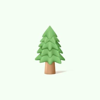 3d-afbeelding van dennenboom met illustratie in pastelkleuren
