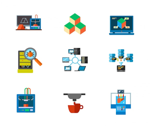 3d-afdrukken en data center icon set