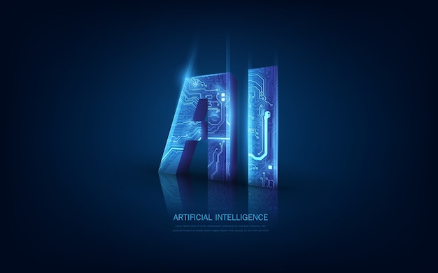 3d ai-circuit in futuristisch concept geschikt voor toekomstige technologie