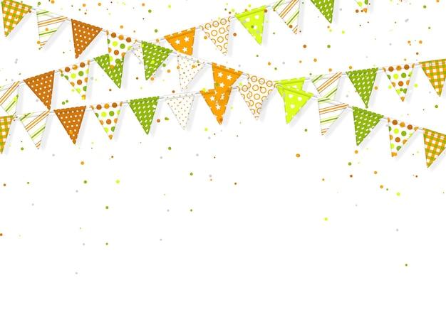 3d banting vlaggen met confetti voor indiase feestdagen.