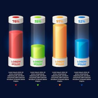 3d-bars kleurrijke infographic sjabloon