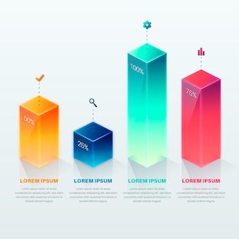 3d-bars kleurrijke sjabloon infographic