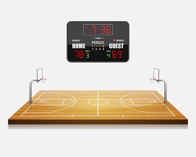 3d basketbalveld met een scorebord.