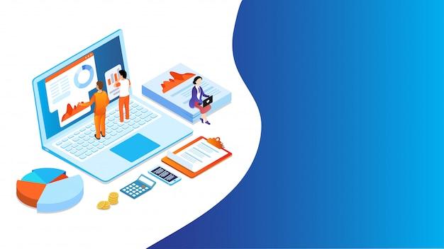 3d-bedrijfsanalisten analyseren de gegevens op laptop en zakelijke elementen.
