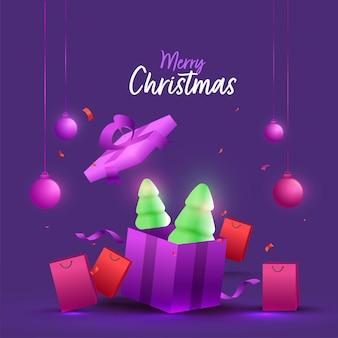3d besneeuwde kerstbomen in geschenkdoos met boodschappentassen en hangende kerstballen