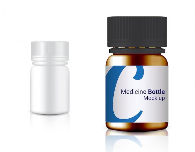 3d bespotten realistische geneeskundefles voor calcium- en vitamine-pil