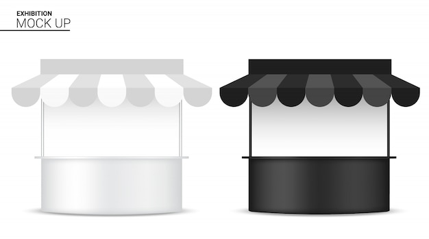 3d bespotten realistische kioskweergave pop-stand