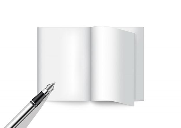 3d bespotten realistische pen en boek voor tijdschrift