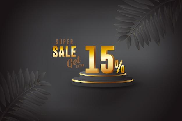 3d beste verkoopbannerkorting met vijftien 15 procent