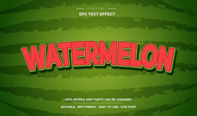 3d-bewerkbaar watermeloen-teksteffect in cartoonstijl