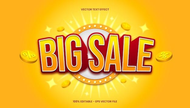 3d big sale-teksteffect met geel en rood kleurenthema.